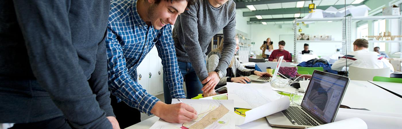 Architecture students in workshop