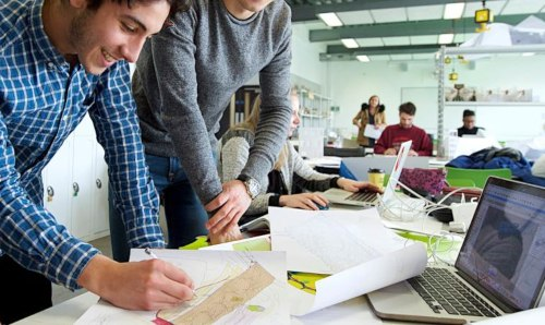 Architecture students in workshop.