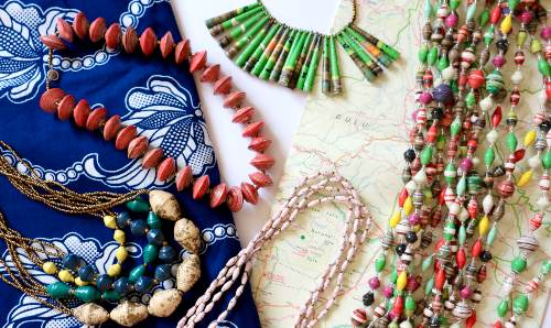 Colourful beads and necklaces