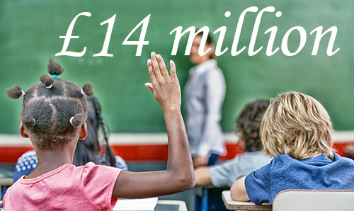 The backs of schoolchildren with their hands up. At the front of the class the number £14 million is written on the chalkboard.