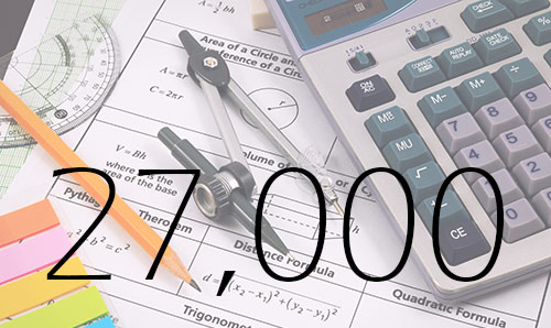 Maths stationery including a compass and a calculator. The figure 27,000 is overlaid in black text.