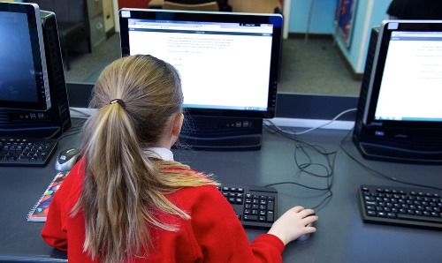 secondary pupil on computer