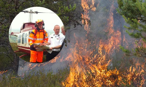 Helicopter and crew (inset) and wild fire
