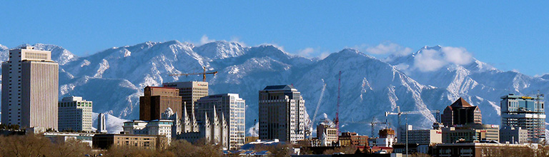 Salt Lake City skyline, mountains in the background