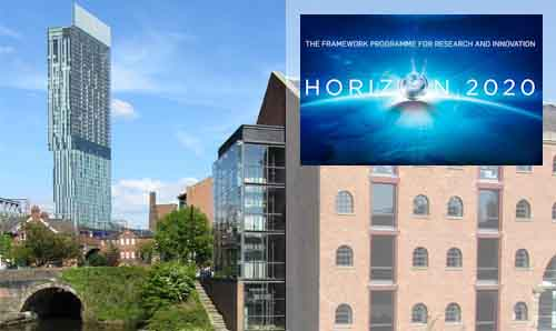 Horizon 2020 logo and image of Manchester's Beetham Tower with a canal in the foreground
