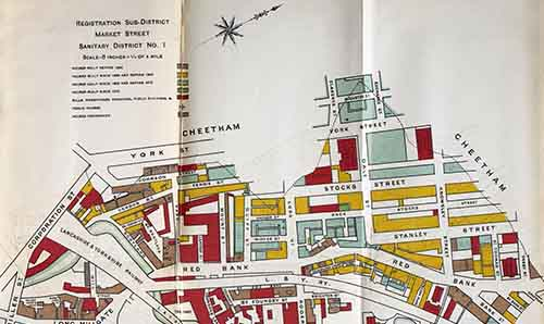 Old map of Manchester showing the Red Bank